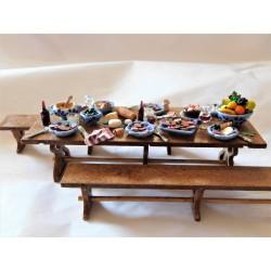Table de banquet garnie et 2 bancs 14cm de long