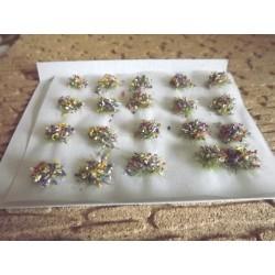 Plaque de touffes de fleurs couleurs mixtes 6mm