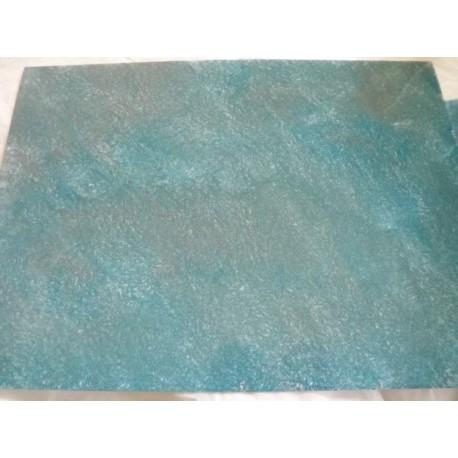 Feuille imitation eau bleu clair/gris